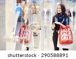 female shopper with sale bags... | Shutterstock . vector #290588891