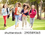 Group Of Young Girls Running...