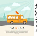 school bus with festive flags... | Shutterstock .eps vector #290598644