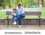 mother and son sitting on a... | Shutterstock . vector #290603654