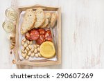smoked sausage with cheese and... | Shutterstock . vector #290607269