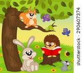 hedgehog reading book for...   Shutterstock .eps vector #290607374