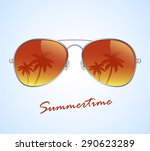 aviator sunglasses with palms... | Shutterstock .eps vector #290623289