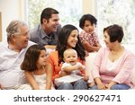 3 generation hispanic family at ... | Shutterstock . vector #290627471