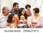 3 generation hispanic family at ... | Shutterstock . vector #290627471