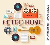 retro equipment music set... | Shutterstock .eps vector #290638229