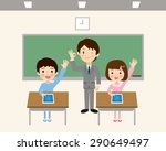 students to learn in a tablet | Shutterstock .eps vector #290649497
