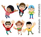 set of young man characters in... | Shutterstock .eps vector #290681021