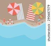 beach flat design background | Shutterstock .eps vector #290687579