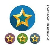 golden stars icons on round... | Shutterstock .eps vector #290693915