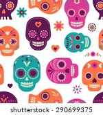 colorful skull cute pattern ... | Shutterstock .eps vector #290699375