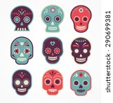 colorful patterned skull set ... | Shutterstock .eps vector #290699381