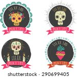 print   mexican sugar skull and ... | Shutterstock .eps vector #290699405