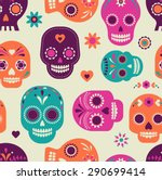 colorful skull cute pattern ... | Shutterstock .eps vector #290699414