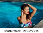 beautiful woman in swimming... | Shutterstock . vector #290699945
