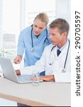 doctor and nurse working with... | Shutterstock . vector #290705597