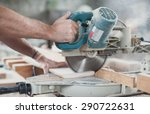 Small photo of Circular Saw. Carpenter Using Circular Saw for wood