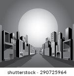 black and white night city... | Shutterstock .eps vector #290725964