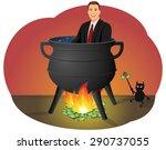 smiling businessman sitting in...   Shutterstock .eps vector #290737055