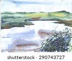 Landscape River Reeds Painted...