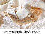 shofar  horn  on white prayer... | Shutterstock . vector #290750774