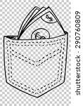 hand draw money at back pocket   | Shutterstock .eps vector #290760809