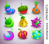 set of funny colorful fantasy...