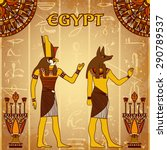 vintage poster with egyptian... | Shutterstock .eps vector #290789537