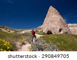 father with baby on hiking path ... | Shutterstock . vector #290849705