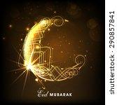 creative golden crescent moon... | Shutterstock .eps vector #290857841