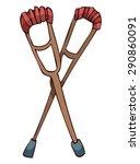 wooden crutches  vector... | Shutterstock .eps vector #290860091