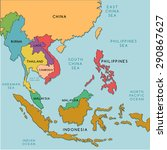 South East Asia Map   Vector...