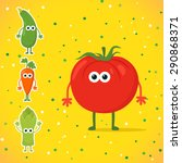 cute cartoon tomato character... | Shutterstock .eps vector #290868371