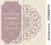 retro invitation or wedding... | Shutterstock .eps vector #290888054