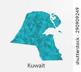 kuwait flag map in geometric... | Shutterstock .eps vector #290909249