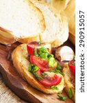 traditional italian bruschetta... | Shutterstock . vector #290915057