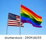 Rainbow And American Flags...