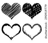 hand drawn sketch hearts for... | Shutterstock .eps vector #290919779