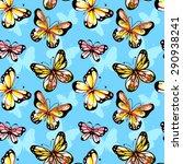 flying watercolor butterfly... | Shutterstock .eps vector #290938241