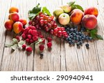organic fruits and berries with ... | Shutterstock . vector #290940941