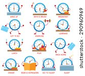 Clock Character Daily Routine ...