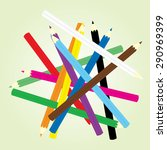 color pencils on green... | Shutterstock .eps vector #290969399