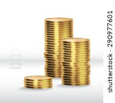 gold coin stack isolated on... | Shutterstock .eps vector #290977601