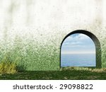 gate in wall to the ocean   3d... | Shutterstock . vector #29098822