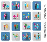 family and people flat icons... | Shutterstock . vector #290993771