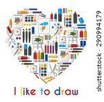i like to draw. heart of... | Shutterstock . vector #290994179