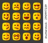 emotional square yellow faces... | Shutterstock .eps vector #290997239
