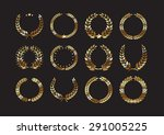 set of gold award laurel... | Shutterstock .eps vector #291005225