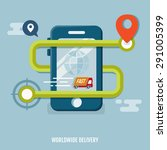 concept of worldwide delivery.... | Shutterstock .eps vector #291005399
