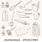 kitchen utensils set. hand... | Shutterstock .eps vector #291011984